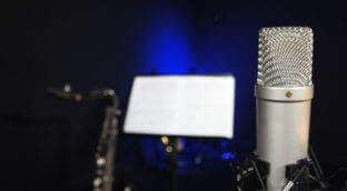 a silver microphone