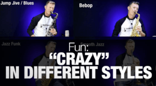 "Jazz standard ""Crazy"" played on saxophone in different styles"