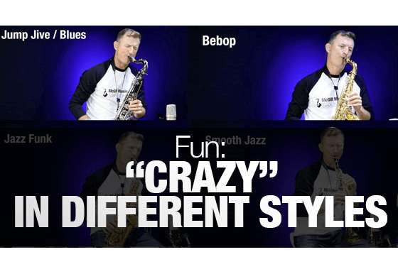 """Jazz standard """"Crazy"""" played on saxophone in different styles"""