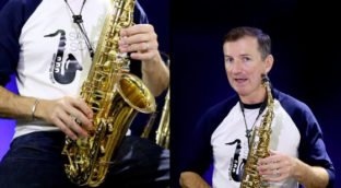 a man demonstrating how to play the sax