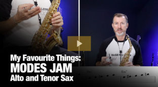 Modes Jam for alto and tenor saxophone by Nigel McGill