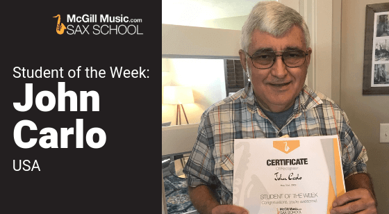 John Carlo is Sax School Student of the Week