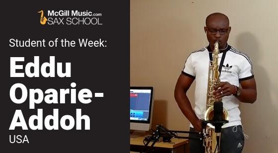 Eddu Oparie-Addoh playing his saxophone