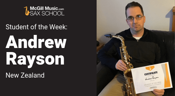 Andrew is Sax School Student of the Week