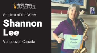 Shannon is our Sax School Student of the Week learning saxophone with Sax School online saxophone lessons