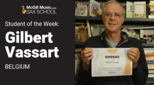 Sax School Student of the Week Gilbert learns alto saxophone with Sax School online lessons