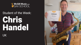 Chris is our Student of the Week in Sax School