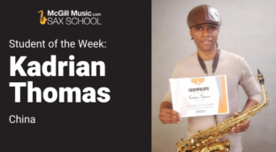Kadrian is our Sax School Student of the Week learning saxophone using our online sax lessons from his home in China.