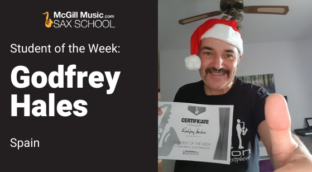Godfrey Hales is Sax School Student of the Week learning saxophone with online lessons