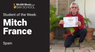 Mitch France is Sax School Student of the Week learning saxophone with online lessons from Sax School