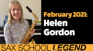 Helen plays advanced sax solo with Sax School